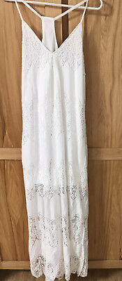 Off White Lace Overlay Maxi Dress With Shorter Lining Women's Juniors Med EUC