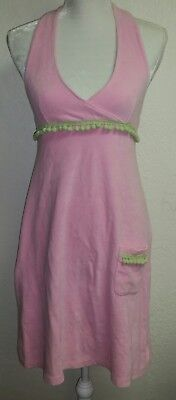 (WOMENS LILLY PULITZER PINK TERRY CLOTH HALTER DRESS/ SWIM COVER UP SIZE SMALL)