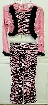 Girls Lillian Vernon Pink Zebra Fur Trim Jacket, Pants Costume》12-14 - Zebra Costumes