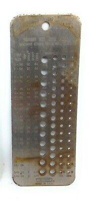 Vtg. Sears Craftsman 9-4047 1-60 Drill Wire Gauge Index For Machine Screw Taps