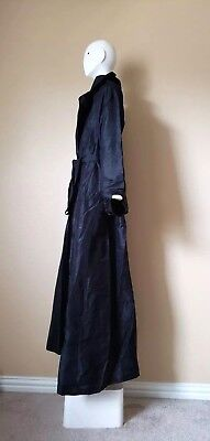 Nwot 100% silk Robe gown abaya jacket sz L/ XL hijab black & belt full length