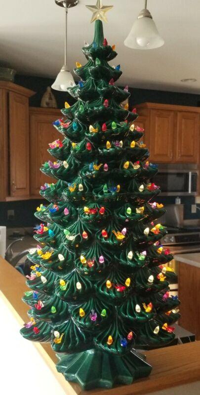 "RARE 34"" Vintage Ceramic Christmas Tree w/Base, Atlantic Mold, Lights Star, Exc."