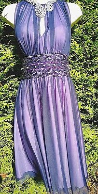 JS BOUTIQUE DRESS 12 UK PEARLS BEADS NAVY BLUE LILAC COCKTAIL PARTY OCCASION 1