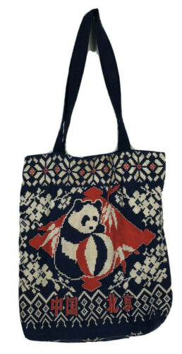 Vintage China Tote Bag Panda Bear Tourist Travel Souvenir Cloth Blue Red 70s j