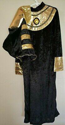 boys size medium PHARAOH BLACK GOLD 2 PC HALLOWEEN COSTUME ROBE HEAD PIECE NEW @