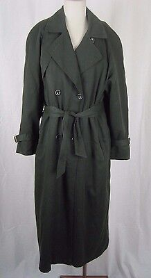 Spy Trenchcoat (Womens London Fog Cape Top Wool Lined Belted Tie Spy Trench Coat 6 Dark Green)