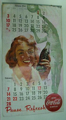 ORIGINAL VINTAGE 1954 COCA COLA LARGE PAGE CALENDAR FEATURING SANTA CLAUS SPORTS
