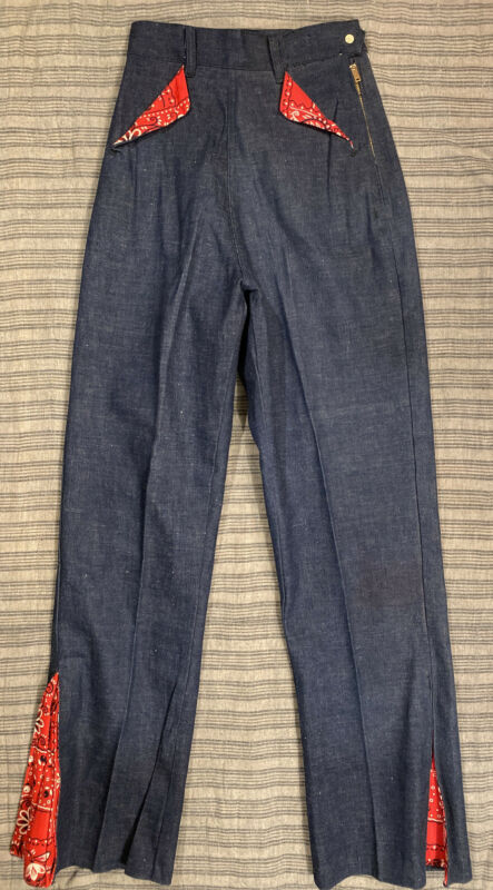 VTG NOS 50s Denim Jeans Bandana Flare Brass Talon 23x30 Hi Rise Talon Side Zip