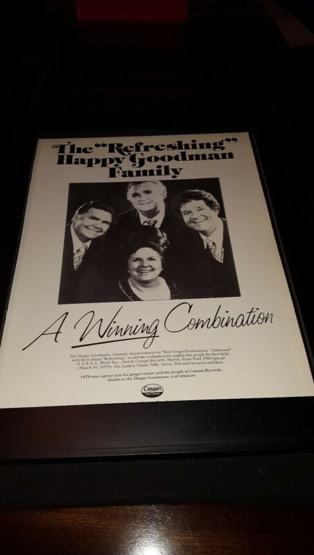 The Happy Goodmans Rare Original Canaan Records Promo Poster Ad Framed!