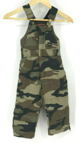 WALLS - BOYS SIZE XS - MULTICOLOR CAMO KIDS GROW SYSTEM OUTWEAR OVERALLS BIBS