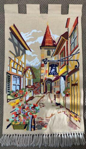 Crewel Hanging Wall Art Needlework Embroidery Bavarian Village Scene Tan Fringe
