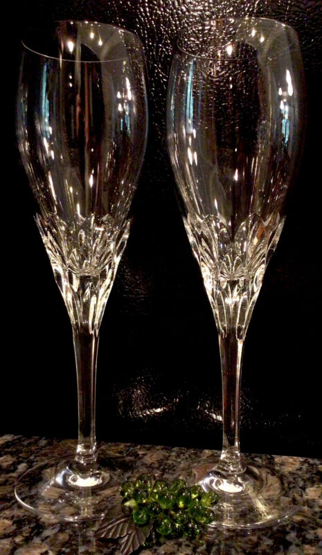 GORHAM Crystal DIAMOND Clear Fluted Champagne Glasses (2)  RETIRED   PRISTINE!