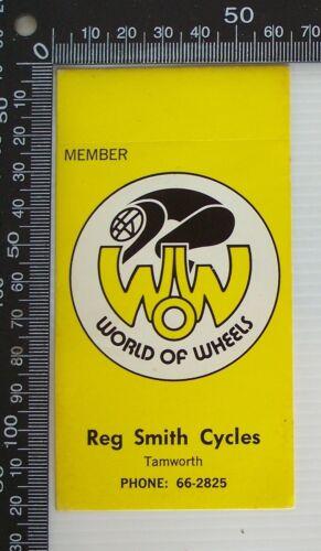 VINTAGE WORLD OF WHEELS REG SMITH CYCLES TAMWORTH SHOP ADVERTISING PROMO STICKER