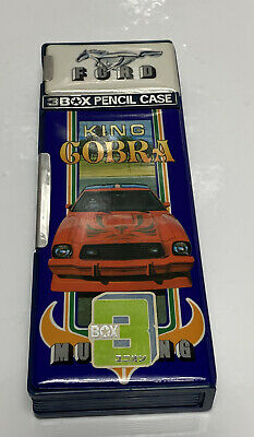 VINTAGE PENCIL Box CASE Ford MUSTANG KING COBRA UNION FS-1010, Rare