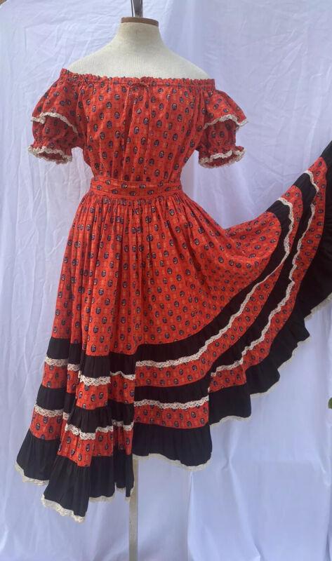 VTG 50s Square Dance skirt top Folkloric Ruffles Crochet Lace Full Circle Skirt