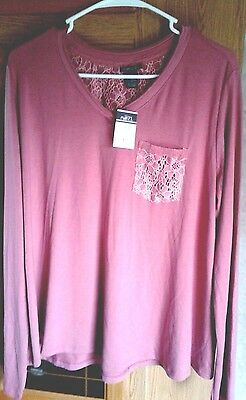 Rue 21 Xl Pink Long Sleeve Front Pocket V Neck Pullover Cotton Blend Top