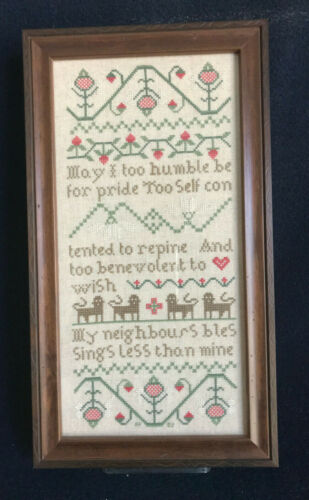 "Antique Reproduction Humble Pride SAMPLER Cross Stitch Completed Framed 15"" x 8"""