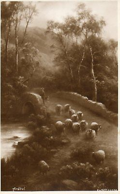 ARDLUI, HIGHLANDS * ELMER KEENE * SHEPHERD, DOG & SHEEP ON BRIDGE * VINTAGE *E96