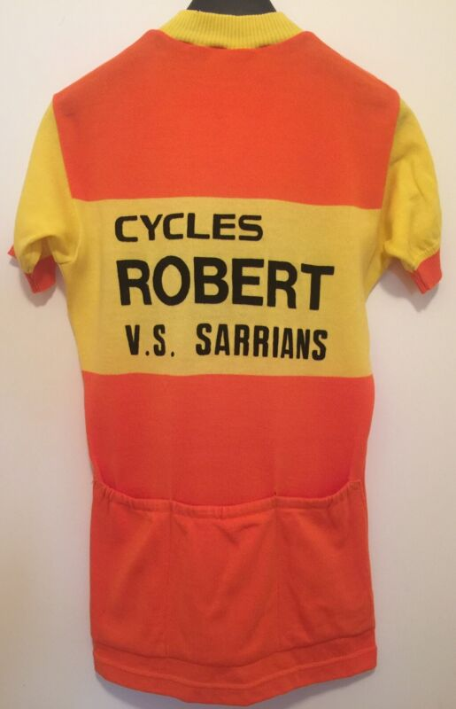 M Vintage FRENCH Eroica FLOCKED CYCLING JERSEY Orange CYCLES ROBERT Sarrians