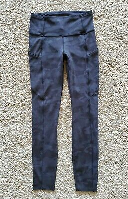 Lululemon Fast Free NR 7/8 Leggings Pants Incognito Camo Multi Grey  Sz 4  EUC!!