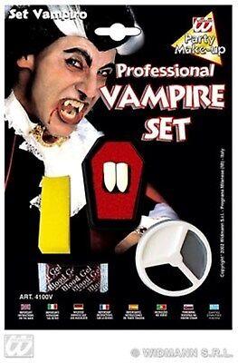 HAAC Vampir Set mit Zähne Schminke Blut Theaterblut Halloween Horror Farsching