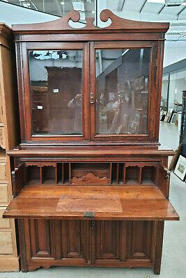 antique,edwardian,mahogany,secretaire,bookcase,glazed,desk,shelves,cupboard,