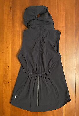 Lululemon Womens Go The Distance Vest Jacket Pony Hood Black Reflective Run 6