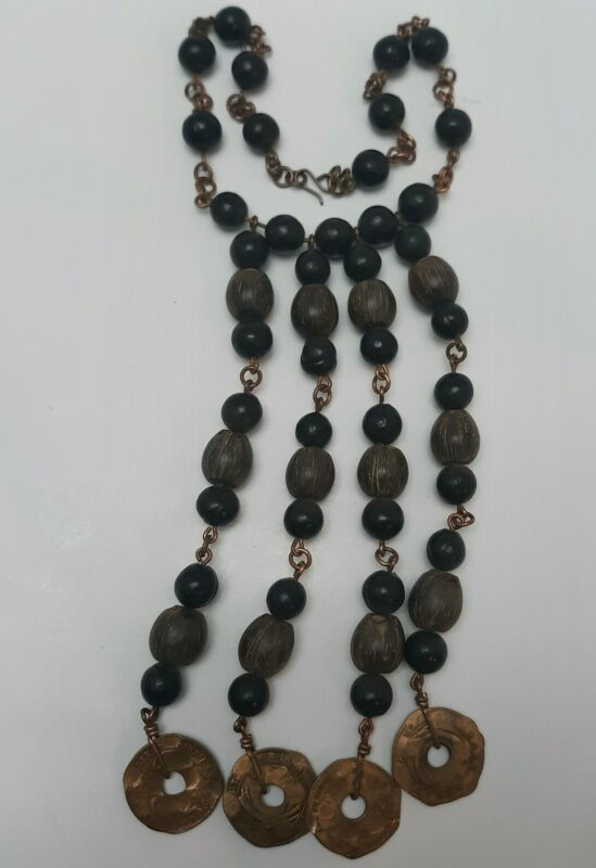 """17"""" Wood Bead African Necklace With African Medalion Coins"""