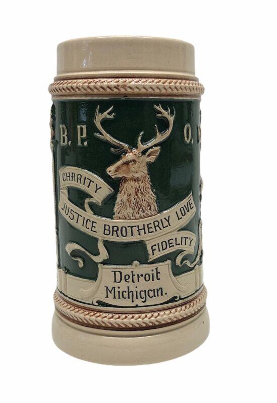 Antique Elks Beer Stein Germany BPOE Detroit MI Temple Rest Stoneware *Flaws*