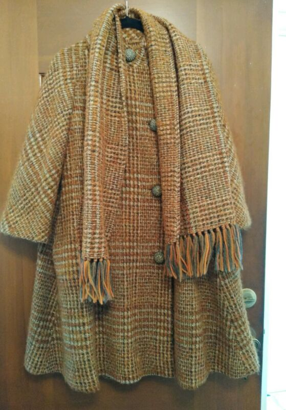 Vintage Swing Coat Plaid Brown Rust Cream Grey Scarf Wool Blend Lined Mint Cond