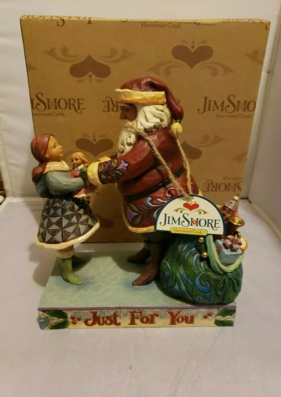 "(2007) Jim Shore Heartwood Creek Enesco ""Just For You"" Santa W/ Girl 4009050"