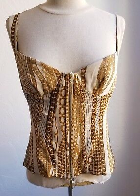 Roberto Cavalli Bustier and Pant Set Gold Chain Print Size Lrg Chain Bustier Dress
