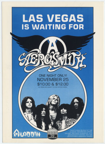 AEROSMITH Original 1977 Las Vegas Aladdin Concert Handbill
