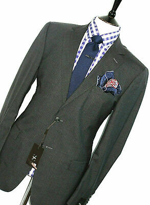 BNWT LUXURY MENS ERMENEGILDO ZEGNA PINSTRIPE CHARCOAL GREY SUIT42R W36