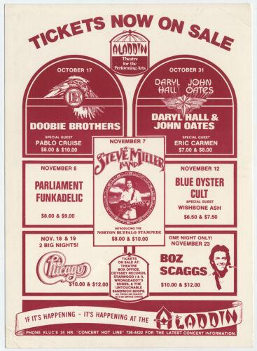 HALL & OATES Doobie Bros. P FUNK Steve Miller BOC 1977 Vegas Concert Handbill