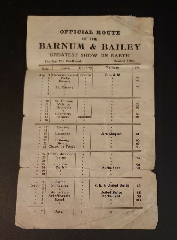1902 Offical Route Barnum & Bailey Greatest Show On Earth France Switzerland
