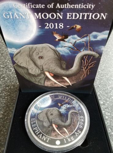 2018 Somalia 1 Kilo Silver Elephant - Giant Moon Limited Edition 100 Minted!