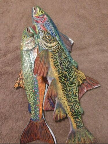 Fish Carvings,stringer,Any 3(Rainbow, Brown, Cutthroat, Brook, Tiger Trout) Sale