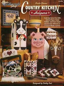 NEW COUNTRY KITCHEN HELPERS PLASTIC CANVAS PATTERN BOOK / LEAFLET RARE