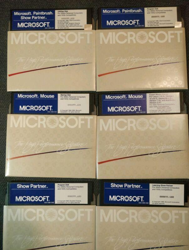 1986 Microsoft IBM Floppy Lot RARE - Show Partner, Paintbrush & Mouse