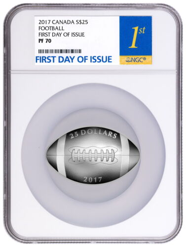 2017 CANADA FOOTBALL SILVER PROOF $25 NGC PF70 UCAM FIRST DAY OF ISSUE 8500 MADE