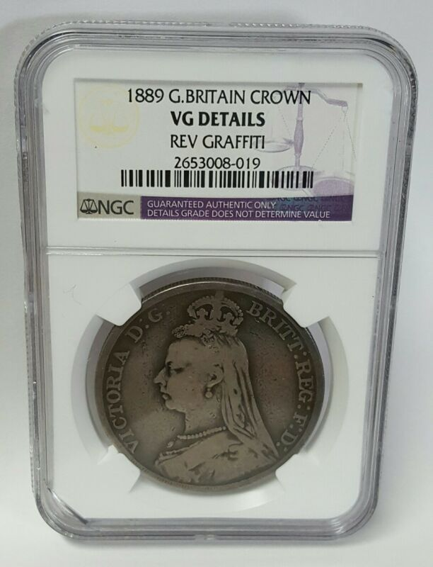 1889 Great Britain Silver Crown Vg Details Ngc Graffiti Victoria George & Dragon