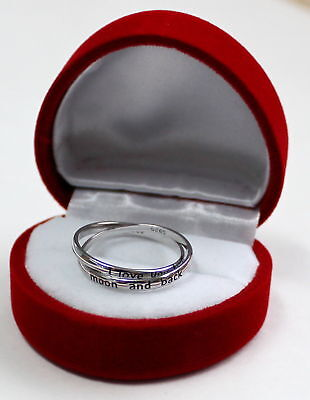 Valentines Day To The Moon and Back 925 Sterling Silver Jewelry Ring & Gift Box
