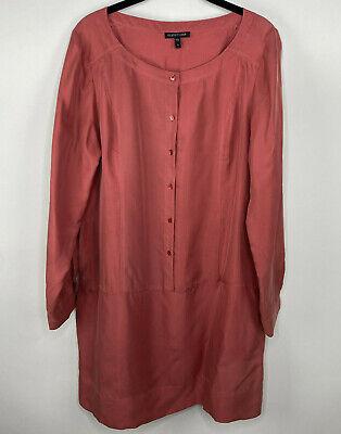 Eileen Fisher Womens Sz Small button front dress pockets Tab sleeve Orange silk -