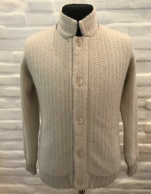 Doriani Men's 6 Ply 100% Cashmere Chunky Thick Knit Cardigan Sweater M 50 Italy