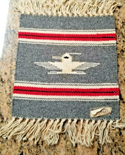 """VINTAGE CHIMAYO  HAND WOVEN GRAY WOOL TABLE MAT - 10""""x10"""" INDIAN MOTIF W/LABEL"""