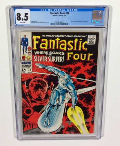 Fantastic Four #72 CGC 8.5 WHITE pages! (Silver Surfer classic) Mar.1968 Marvel