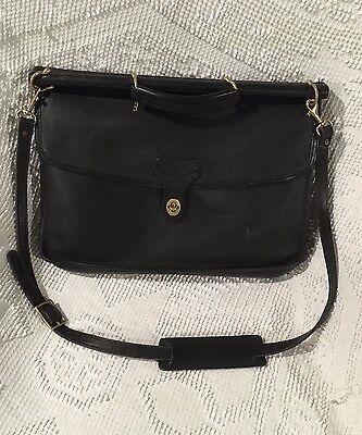 Vtg Jack Georges Black Leather Gusseted Briefcase University Bag Shoulder Gold