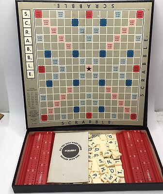 Vntg. 1950s Scrabble Board Game - Original Box W/1960s Red Scoring Racks & Tiles