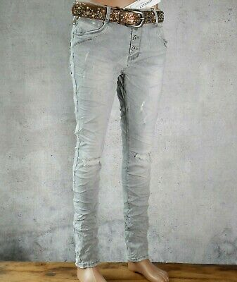 ♥ JEWELLY Baggy Boyfriend Jeans Hose Distressed Destroyed Helles  GRAU *240 Destroyed Boyfriend-jeans